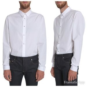 Dior Homme Palladium Snap Dress Shirt $900 size S
